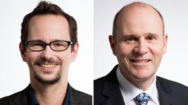 Balthasar Glättli, Nationalrat der Grüne des Kantons Zürich (links) und Thomas Hurter, Nationalrat der SVP des Kantons Schaffhausen.