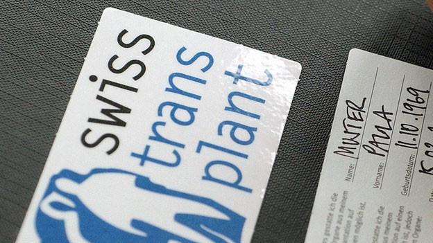 Ein Spenderausweis von Swisstransplant.