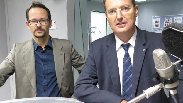 Die Nationalräte Balthasar Glättli (Grüne/ZH) und Thomas Burgherr (SVP/AG) im Radiostudio Bern.
