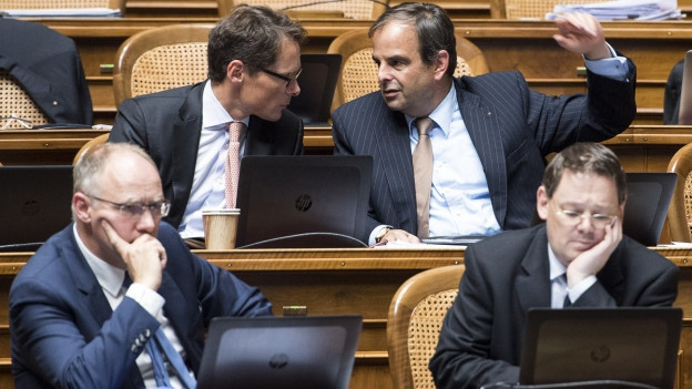 Im Nationalrat diskutieren zwei Parlamentarier.