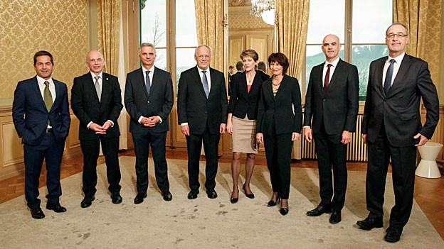 Der Gesamtbundesrat am 9. Dezember 2015. Gruppenbild.