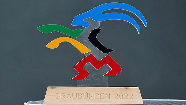 Ein bunter Steinbock als Logo der Olympiakandidatur Graubündens für 2022.