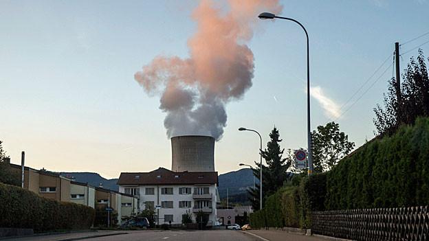 Dampf steigt aus dem Kühlturm des AKW Gösgen.