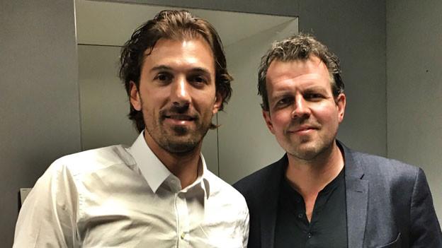 Fabian Cancellara (links) mit SRF-Moderator Marc Lehmann.