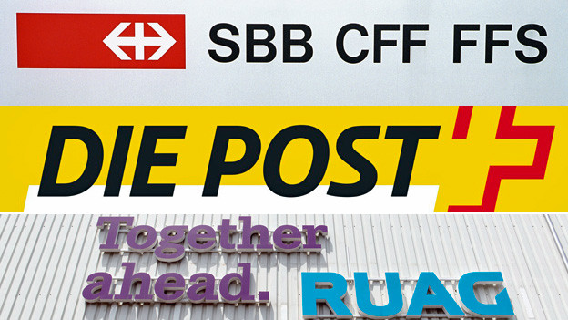 Die Logos der staatsnahen Betriebe SBB, Post und Ruag.