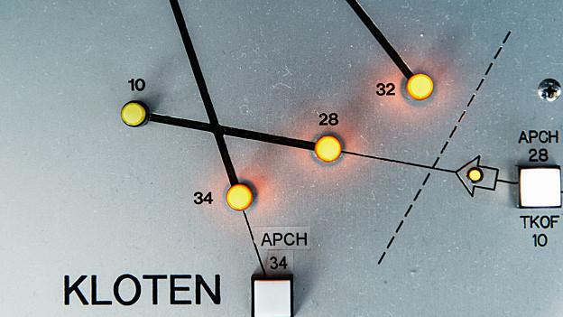 Skyguide-Pult mit Leuchtdioden, welche die Pisten markieren.