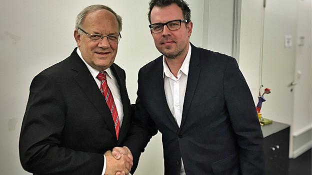 Bundespräsident Johann Schneider Ammann mit Marc Lehmann von Radio SRF.