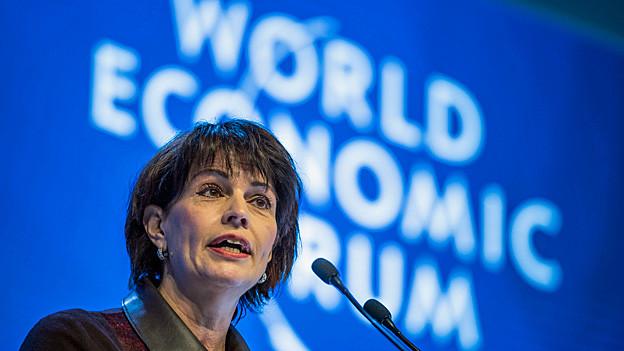 Bundespräsidentin Doris Leuthard bei der Eröffnung des WEF 2017.