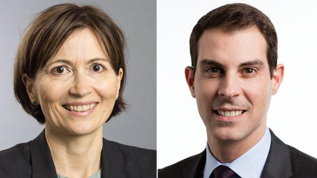 Regula Rytz, Präsidentin der Grünen Partei und Thierry Burkart, Vizepräsident des Touring Clubs TCS.