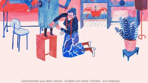 Zeichnung einer Mutter auf der Page von mutti-podcast.de