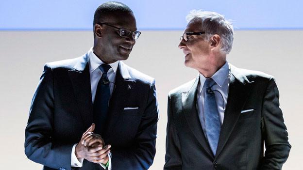 Viele der Aktionäre sind unzufrieden mit dem Führungsduo Tidjane Thiam (links) und Urs Rohner.