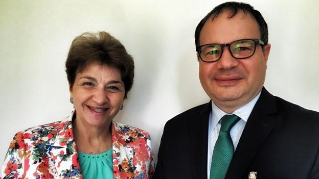Bulgariens Botschafterin Meglena Plugtschieva und Rumäniens Botschafter Vlad Vasiliu.