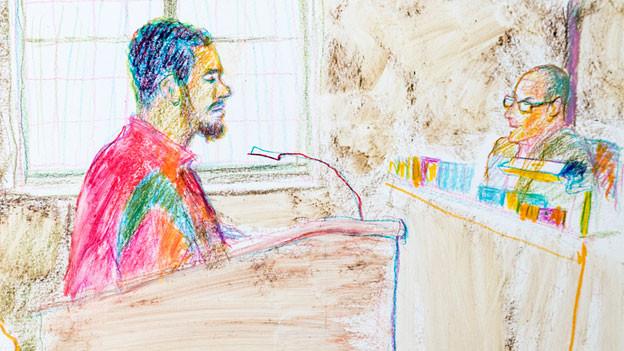 """Gerichtszeichnung von Linda Grädel anlässlich des Prozesses von Jugendstraftäter """"Carlos"""" ."""