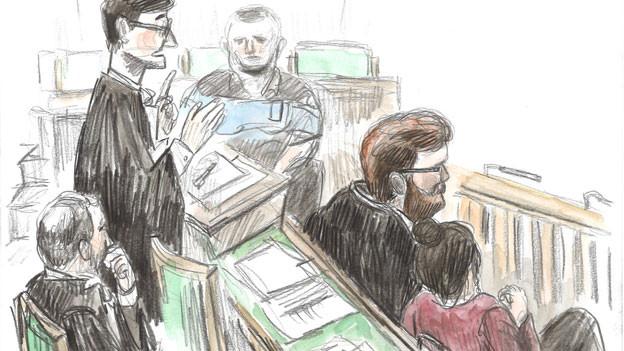 Gerichtszeichnung anlässlich des Prozesses von Erwin Sperisen.