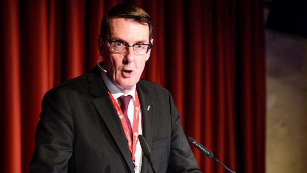 Andreas Züllig, Präsident Hotelleriesuisse spricht an der Jahresmedienkonferenz von Schweiz Tourismus im Papiersaal in Zürich, am Dienstag, 21. Februar 2017.