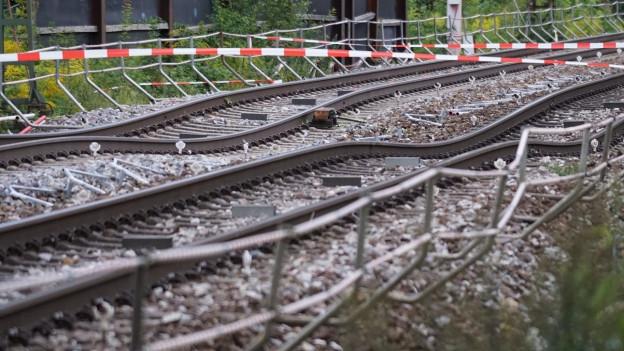 Zu sehen sind abgesenkte Bahngeleise auf der Strecke zwischen Basel und Karlsruhe.