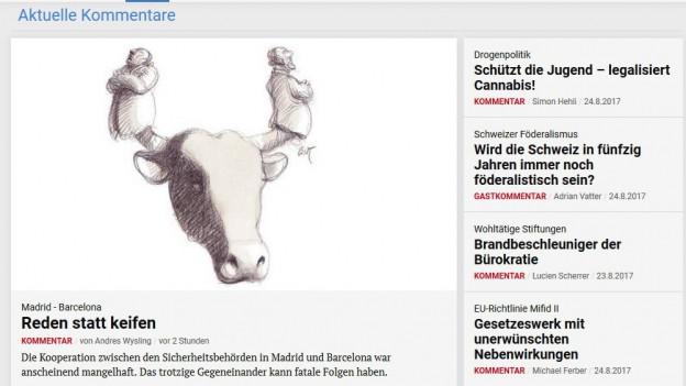 Screenshot der Debattenseite der NZZ