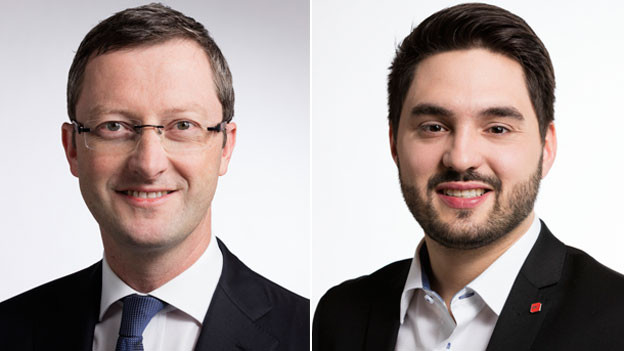Peter Keller, Nationalrat der SVP des Kantons Nidwalden (links) und Cedric Wermuth, Nationalrat der SP des Kantons Aargau.