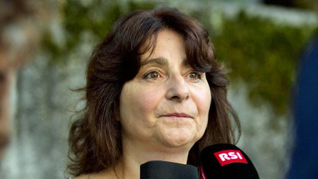 Anna Giacometti, Gemeindepräsident von Bergell gibt nach dem Felssturz vom 23. August 2017 ein Interview.