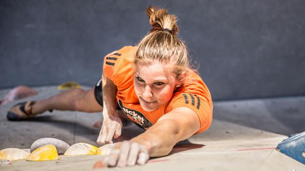 Petra Klingler, Weltmeisterin im Sportklettern.