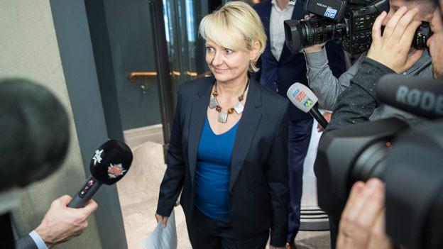Bundesratskandidatin Isabelle Moret, FDP-VD, am Hearing mit der Bundeshausfraktion der SP Schweiz am 19. September 2017 in Bern.