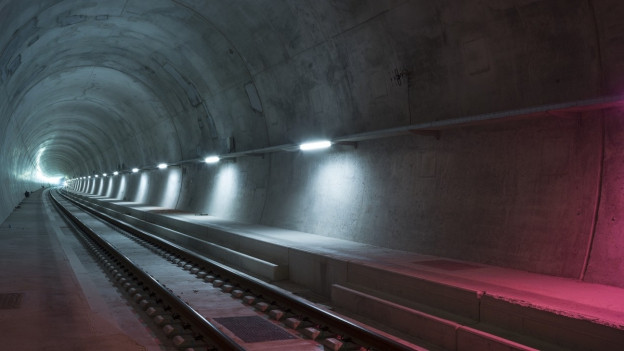 Blick in den Gotthard Basistunnel.