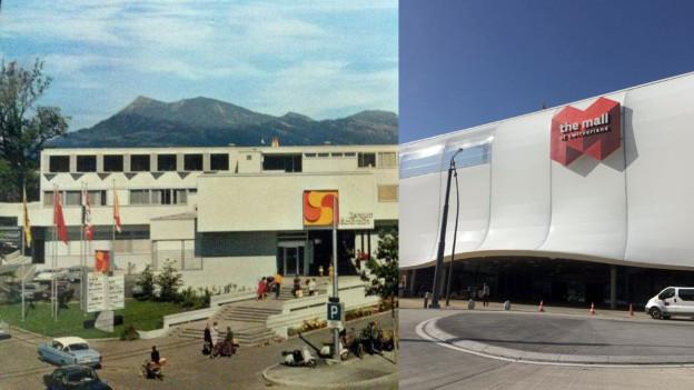 Shoppingcenter Schönbühl kurz nach der Eröffnung im November 1967 (links) und die Mall of Switzerland kurz vor der Eröffnung im November 2017.