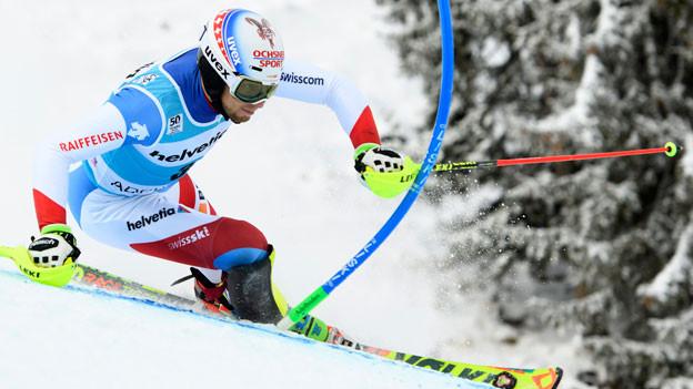Der Schweizer Marc Gini im zweiten Lauf am Weltcup in Adelboden am 8. Januar 2017.