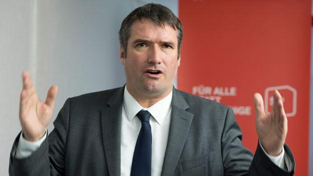 Christian Levrat, SP-Präsident, am traditionellen Dreikönigsaperitif am 5. Januar 2018.