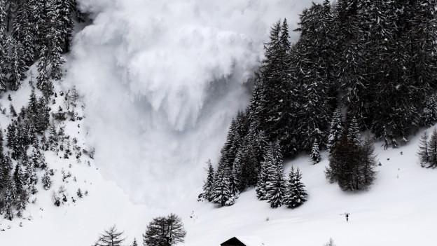 Eine Lawine bahnt sich ihren Weg durch die Walliser Berge.