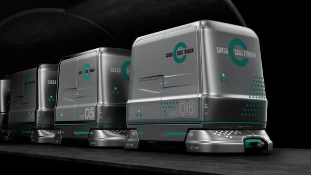 «Cargo Sous Terrain»-Fahrzeuge transportieren Waren durch den Tunnel. Bild: Cargosousterrain.