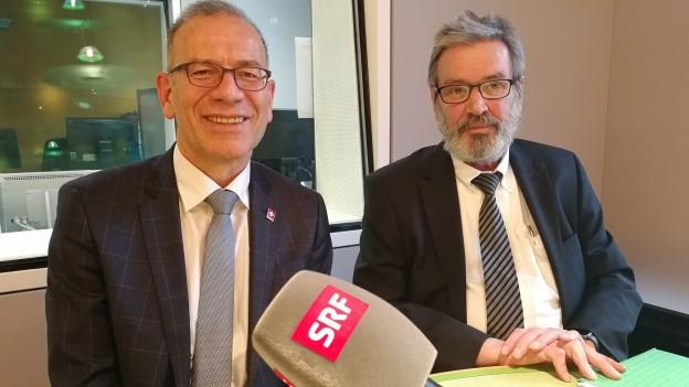Im Gespräch: Hannes Germann (l.) und Roberto Zanetti.