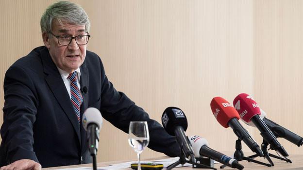 Urs Schwaller, Präsident des Verwaltungsrats, spricht an einem Point de Presse zu den Untersuchungen der Unregelmässigkeiten bei der PostAuto AG, nach der Bilanzmedienkonferenz der Schweizerischen Post AG, am Donnerstag, 8. März 2018 in Bern.