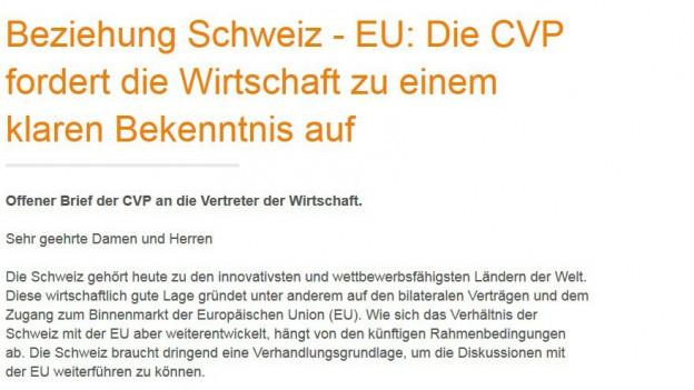 Screenshot des offenen Briefs der CVP.