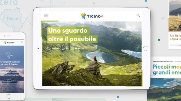 Zu sehen ist ein Ausschnitt aus der neuen Promotionskampagne von Ticino Turismo.