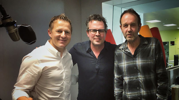 YB-Sportchef Christoph Spycher, «Tagesgespräch»-Moderator Marc Lehmann und Kuno Lauener, YB-Fan und Frontmann der Rockband «Züri West» (von links).