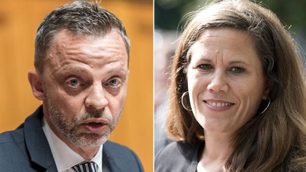 Hans-Ueli Vogt, SVP Zürich,  und Andrea Huber, Geschäftsleiterin der NGO-Koalition «Schutzfaktor M».