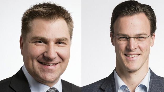 Die Nationalräte Toni Brunner (SVP, SG; links) und Bastien Girod (Grüne, Zürich)