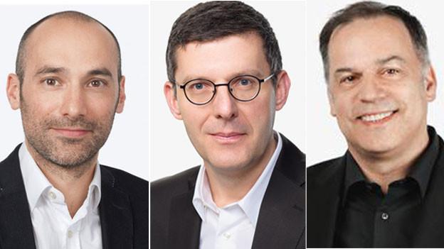 Die SRF-Auslandkorrespondenten Oliver Washington in Brüssel, Franco Battel in Rom und Peter Voegeli in Berlin  (von links).