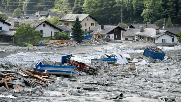 Archivaufnahme des Felssturzgebietes in Bondo. 28. August 2018.