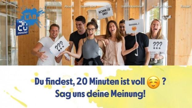 Screenshot von 20min.ch