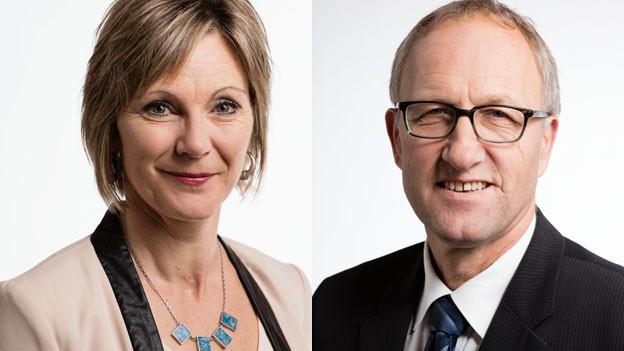 Die Nationalrätin Maya Graf (Grüne BL, pro) und der Ständerat Peter Hegglin (CVP ZG, contra).