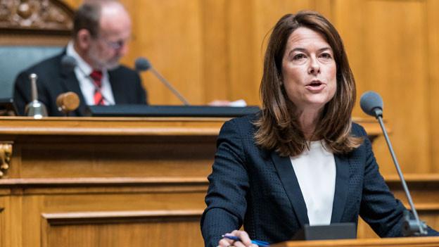 FDP Präsidentin Petra Gössi, FDP-SZ, spricht zur Debatte um die Steuervorlage 2017 an der Herbstsession der Eidgenössischen Räte, am 12. September 2018 im Nationalrat in Bern.
