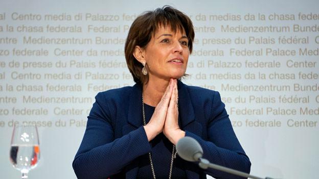 Bundesrätin Doris Leuthard an der Medienkonferenz vom 27. September 2018 an welcher sie ihren Rücktritt auf Ende Jahr bekannt gibt.