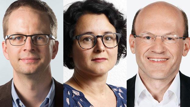 Markus Häfliger, Bundeshausredaktor der Tamedia-Medien, Sermîn Faki, Politikchefin beim Blick und Philipp Burkhardt, Leiter der Bundeshausredaktion von Radio SRF (v.l.n.r).