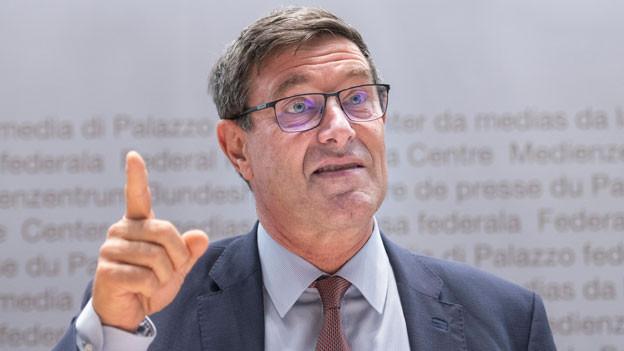 Mauro Dell'Ambrogio, Staatssekretär, spricht an der Medienkonferenz zum Bericht «Beteiligung der Schweiz an den Europäischen Forschungsrahmenprogrammen» am 20. September 2018 in Bern.