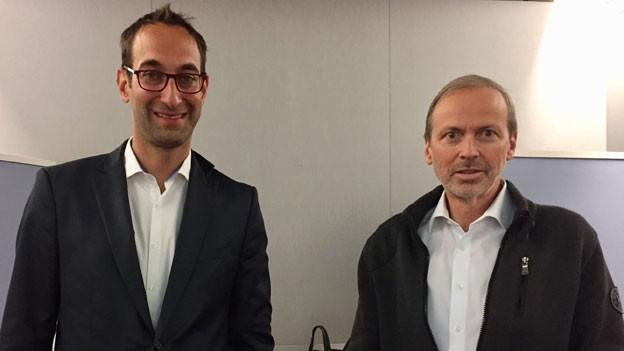 David Volken, Walliser CVP-Grossrat (links) und Philipp Gunzinger, ehem. Bündner FDP-Grossrat.