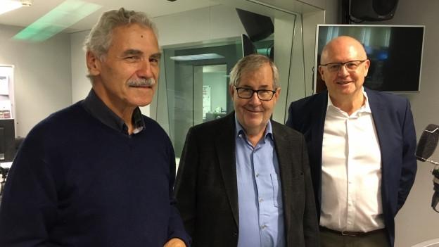 Von links nach rechts zu sehen: Oswald Sigg, Hans Kaufmann, Hugo Schittenhelm.