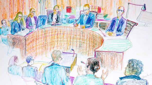 Gerichtszeichung im An-Nur-Prozess vom 23.10.2018.