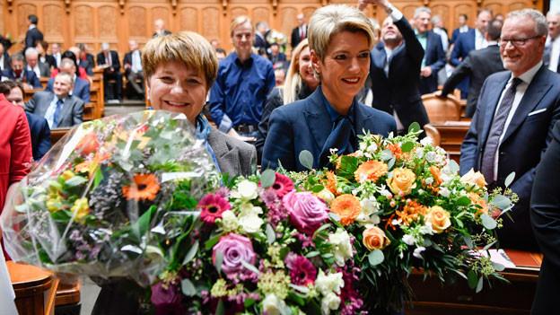 Dei Walliser Nationalrätin Viola Amherd (links) und die St. Galler Ständerätin Karin Keller-Sutter.